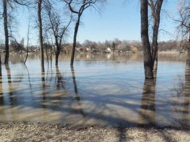 swollen red river