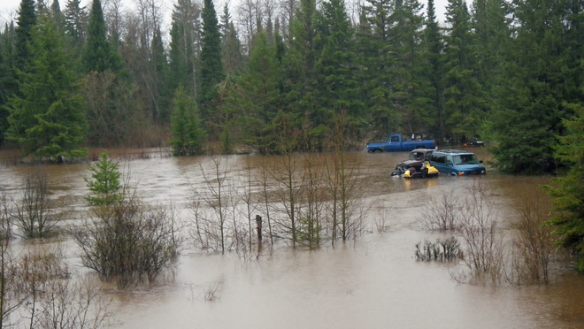 The Stanley River floods its banks, Thunder Bay, Ontario Canada