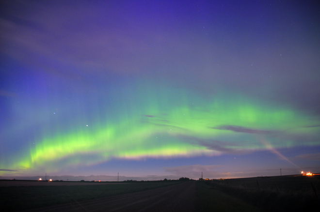Spectacular Aurora even in spite of the moon Carstairs, Alberta Canada