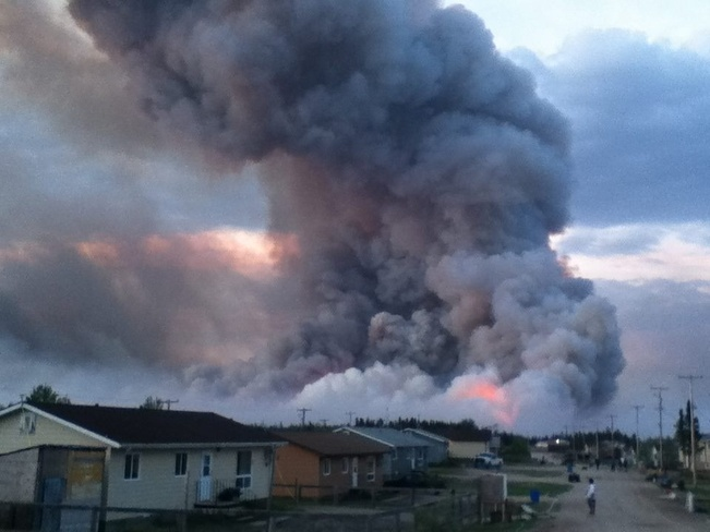 forest fire Ilford, Manitoba Canada