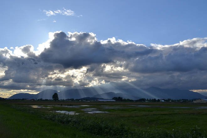 Sun rays through the clouds Chilliwack, British Columbia Canada