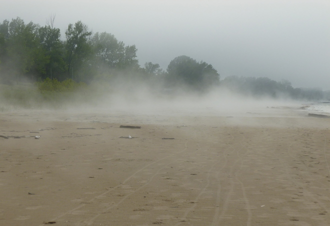 Ipperwash Beach in the mist Port Franks, Ontario Canada