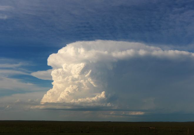 large thunderhead building Brooks, Alberta Canada