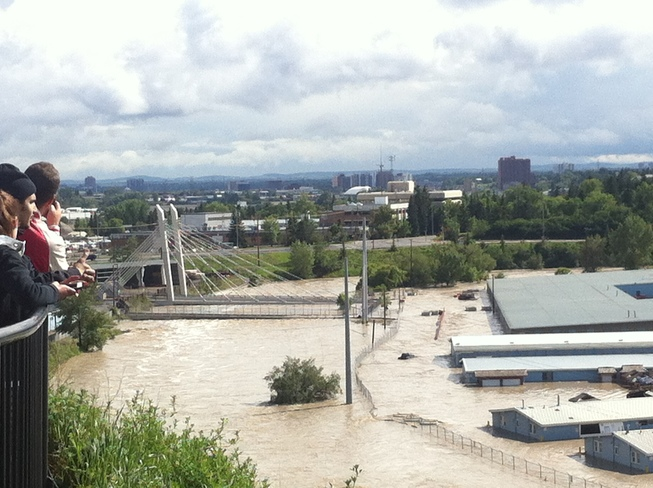 a picture of the now flooded stampede grounds Calgary, Alberta Canada