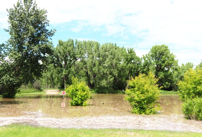 Emerson bridge park flooded out Brooks, Alberta Canada