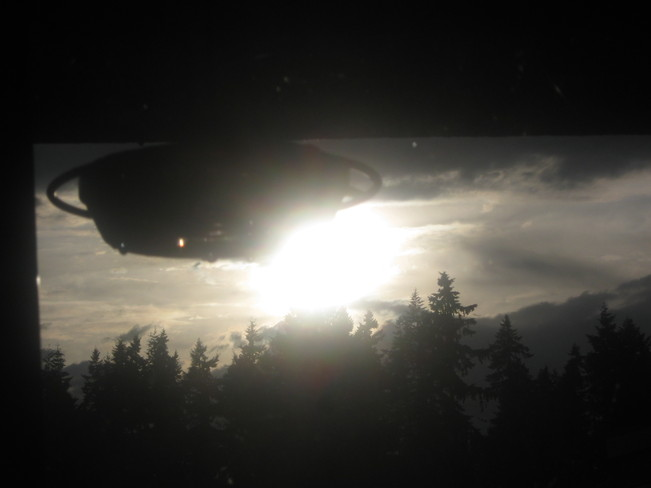 sun beyond the hummingbird feeder Surrey, British Columbia Canada