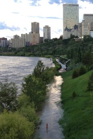 flooded river bank Downtown Edmonton, Alberta Canada