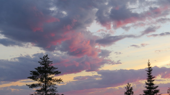 Pink,blue clouds Timmins, Ontario Canada