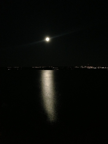 Moon over Kempenfelt Bay Barrie, Ontario Canada