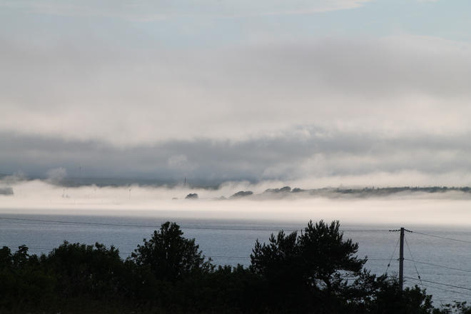 fog setting in Sydney, Nova Scotia Canada