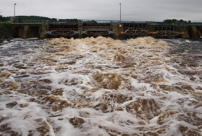 force of the current - power dam at Tusket Falls Tusket, Nova Scotia Canada