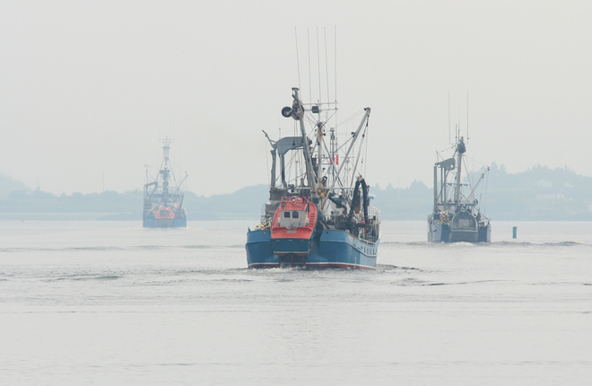 Herring seiners head into the fog - Yarmouth Harbour Yarmouth, Nova Scotia Canada