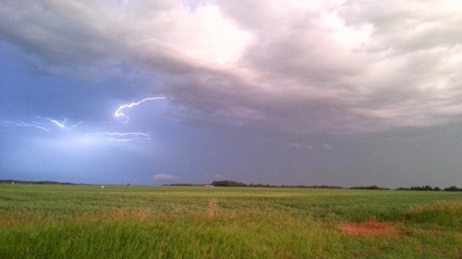Lightening in the sky Kamsack, Saskatchewan Canada