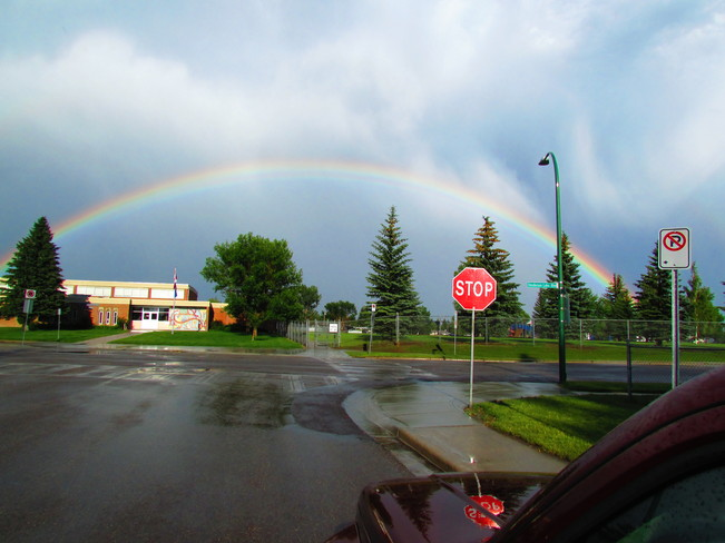 Rainbow after the showers Lethbridge, Alberta Canada