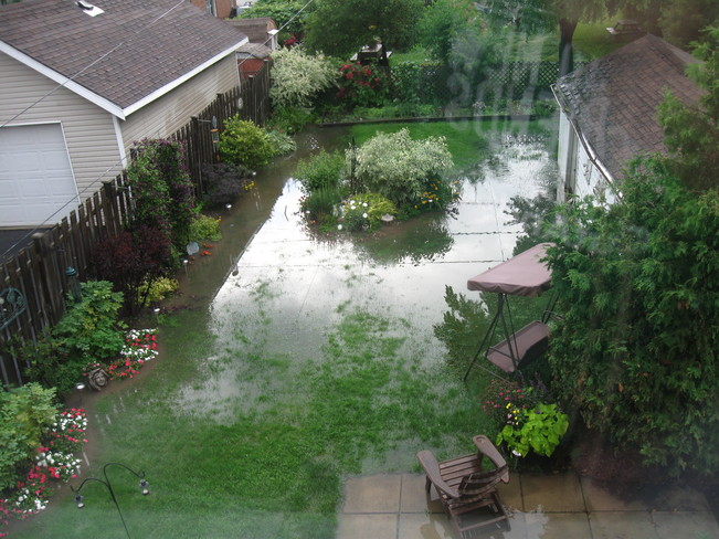 Flooded Backyard Etobicoke, Ontario Canada