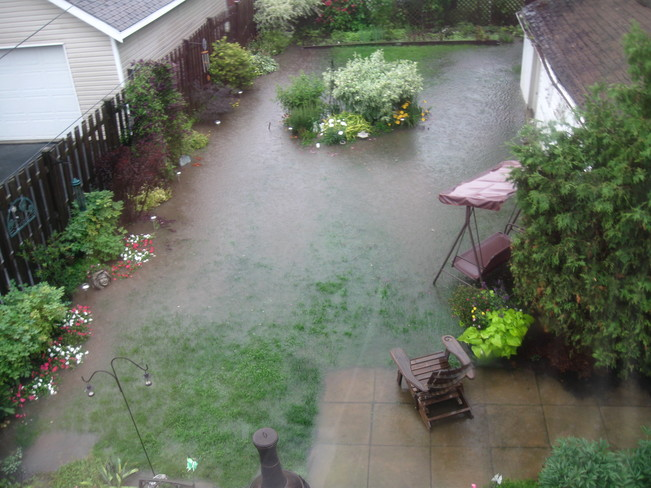 Flash Flood backyard Etobicoke, Ontario Canada