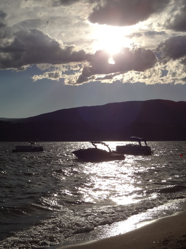Okanagan Lake sunset in Kelowna Kelowna, British Columbia Canada