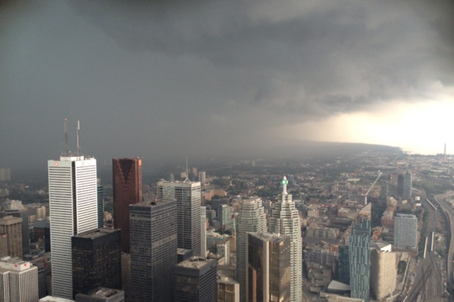 Monday's storm from CN Tower Toronto, Ontario Canada