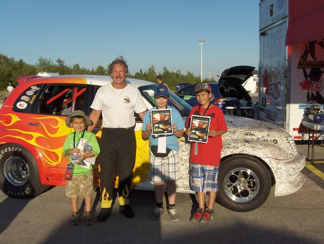 Nitro Mike , Racing in Elliot Lake . Pic With Preston, Cole, & Haiden Elliot, Ontario Canada