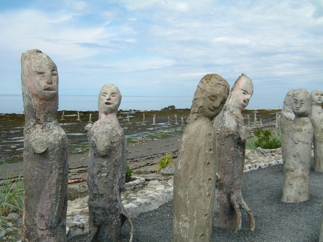 Cement figurines -St.Lawrence River Sainte-Flavie, Quebec Canada