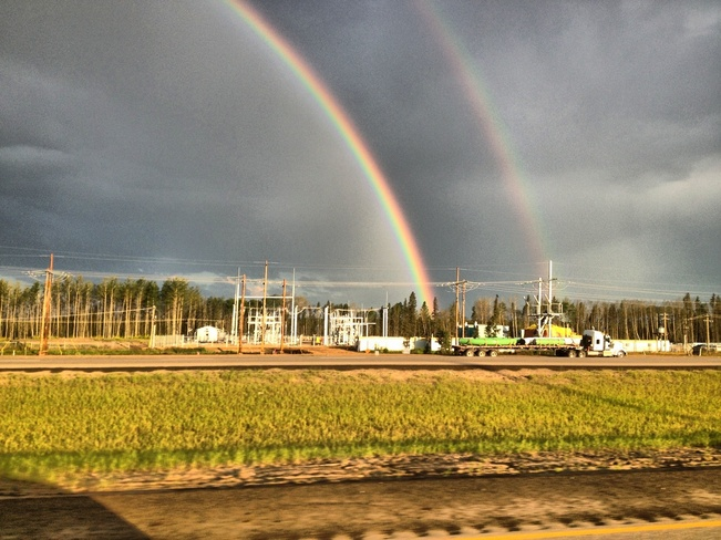Two rainbows on 63. Fort McMurray, Alberta Canada