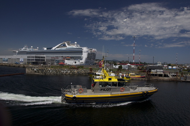 Pilot boat coming in to dock Victoria, British Columbia Canada