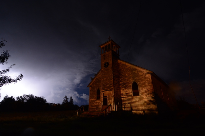 Lightning over Dollard Church Dollard, Saskatchewan Canada