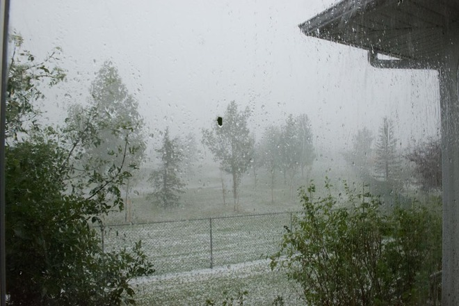 The rain and hail began to fall Lethbridge, Alberta Canada