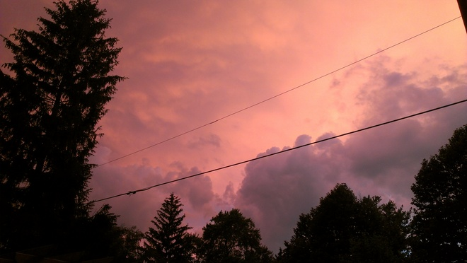 Pink Sky over Brights Grove on Wednesday evening Brights Grove, Ontario Canada