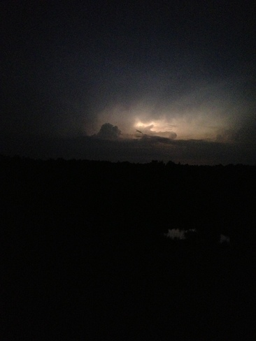 lightning lights up the sky