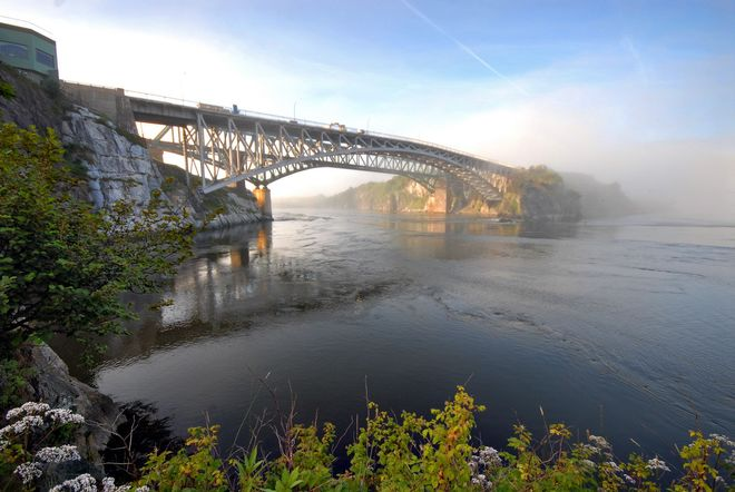 Misty bridge in New Brunswick Brunswick, New Brunswick Canada