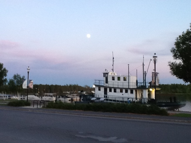 Almost full moon Fort Frances, Ontario Canada
