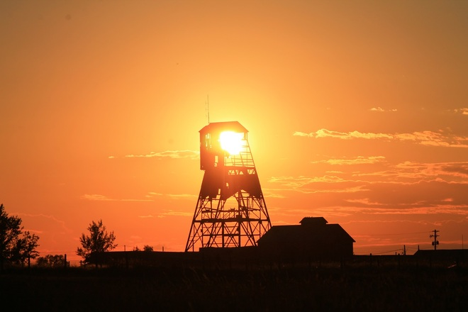 Sunset over colliery Lethbridge, Alberta Canada