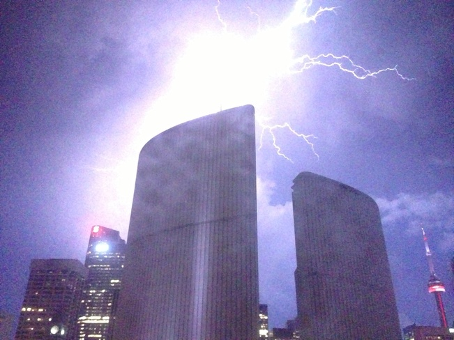 lightning over the cityhall Toronto, Ontario Canada