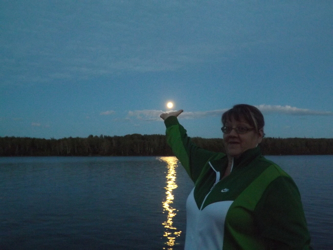 Aunt Liz holding the moon Bishop's Falls, Newfoundland and Labrador Canada