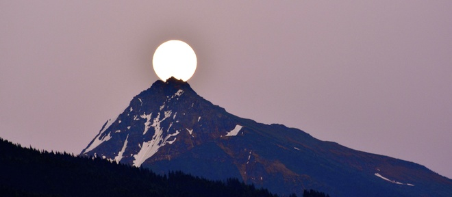 Moon Rise over Mt Cartier Revelstoke, British Columbia Canada