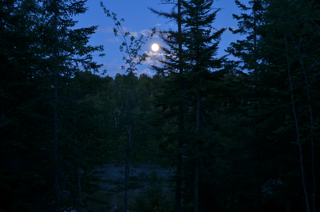 Full Moon Reflecting on Lake Dion Saint-Damien-de-Buckland, Quebec Canada