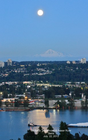 The Mt Baker, the supermoon and the Fraser River New Westminster, British Columbia Canada