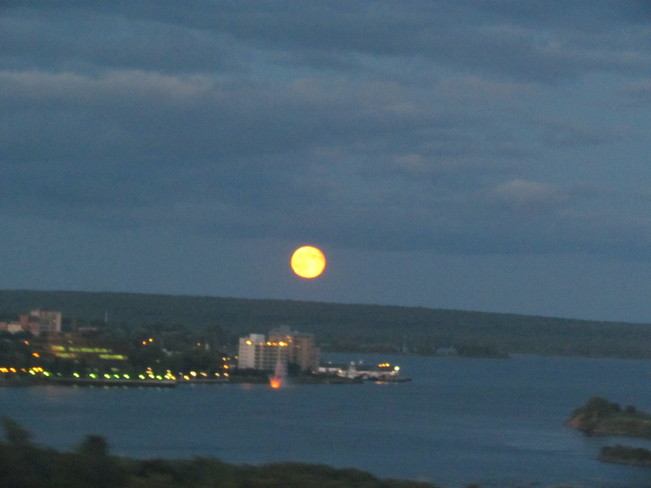 Full Moon Over the Soo Sault Ste. Marie, Ontario Canada