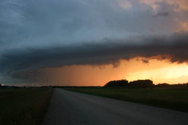 Storm clouds at sunset. Vibank, Saskatchewan Canada