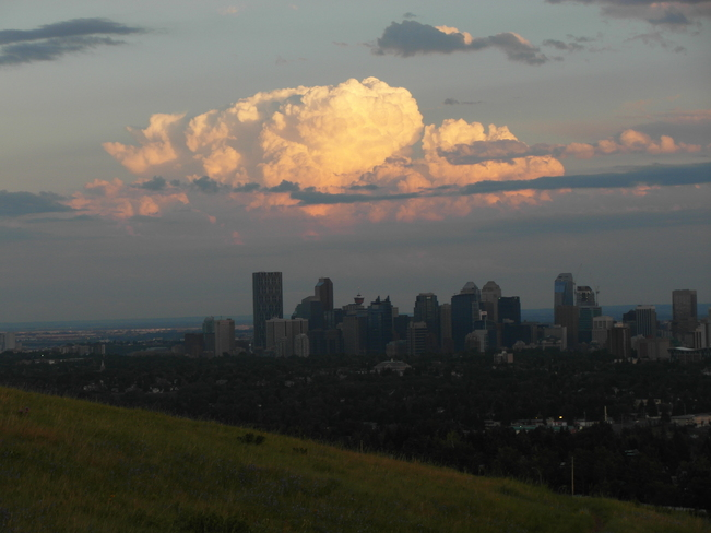 our city with the thunder cloud above Calgary, Alberta Canada