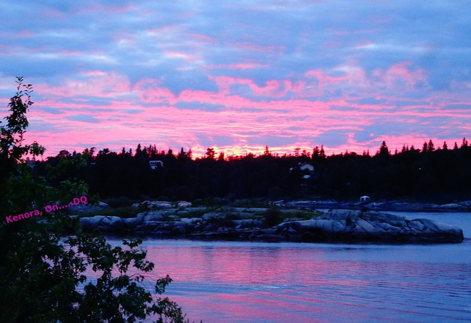 Cloudy = Pink Colorful Sunset Kenora, Ontario Canada