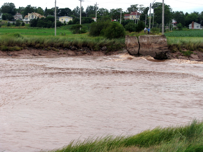Tidal Bore hits the riverbank Truro, Nova Scotia Canada