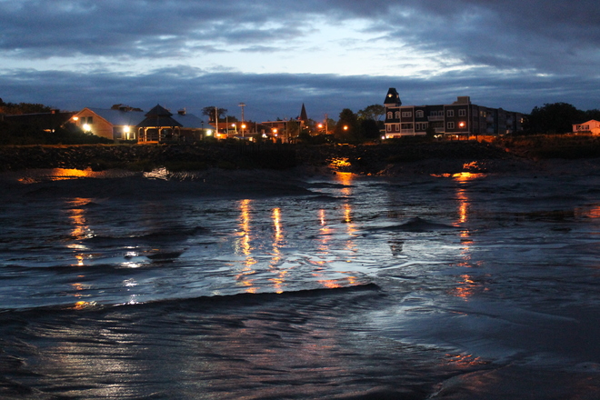 Wolfville Waterfront Park at low tide-with a Great Sky and moonlight. Photo by Wolfville, Nova Scotia Canada