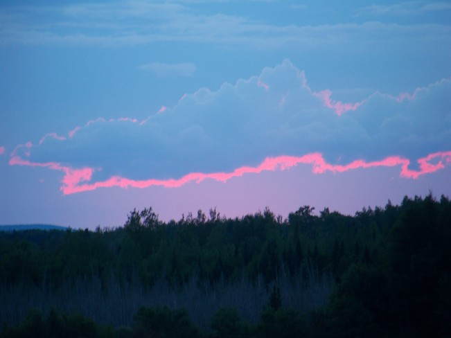 Red Accented Cloud near Lakeville NB Lakeville, New Brunswick Canada