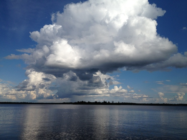 Storm brewing over the lake Rennie, Manitoba Canada