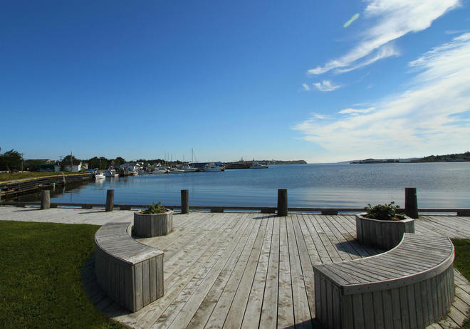 Calm,picturesque scene of Bay Roberts harbour.. Bay Roberts, Newfoundland and Labrador Canada