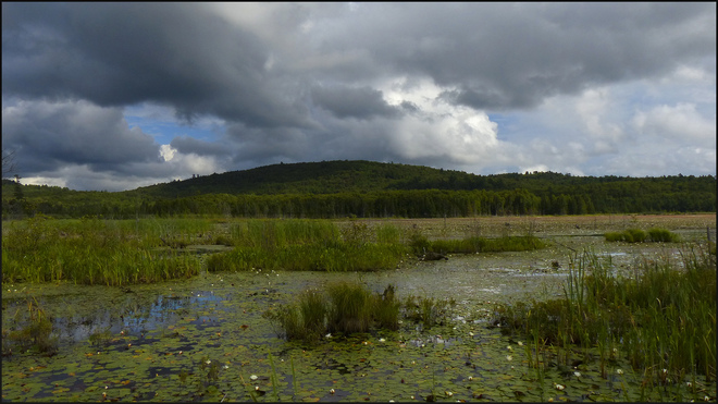 Sherriff Creek, rain clouds above the pond. Elliot Lake, Ontario Canada