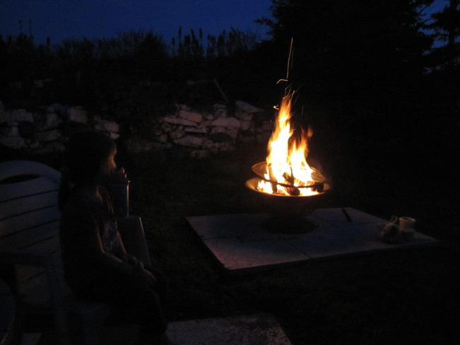 Back yard fire nice night Rock Harbour, Newfoundland and Labrador Canada