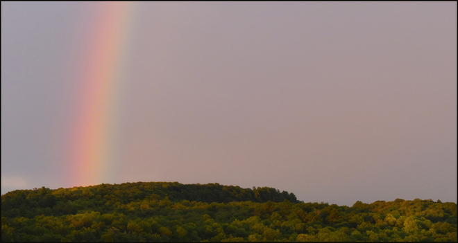 Evening rainbow. Elliot Lake, Ontario Canada